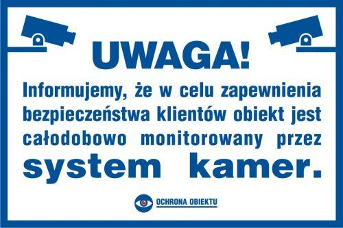 Uwaga! System kamer - znak informacyjny - PA008 - Monitoring przemysłowy