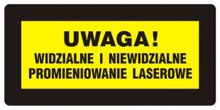 Uwaga! Widzialne i niewidzialne promieniowanie laserowe - znak bezpieczeństwa, ostrzegający, laser - KB005