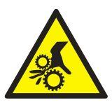 Uwaga ! Wirujące elementy - znak bhp ostrzegający, informujący - GE014 - Znaki BHP w miejscu pracy (norma PN-93/N-01256/03)