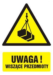 Uwaga! wiszące przedmioty - znak bhp ostrzegający, informujący - GF013