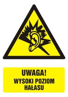 Uwaga! wysoki poziom hałasu - znak bhp ostrzegający, informujący - GF030