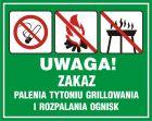 Uwaga! Zakaz palenia tytoniu, grillowania i rozpalania ognisk - znak, lasy - OB039