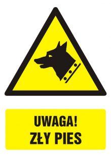 Uwaga! zły pies - znak bhp ostrzegający, informujący - GF017