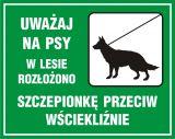 Uważaj na psy  - wstęp do lasu wzbroniony - znak, lasy - OB011 - Oznakowanie w lesie