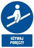 Używaj poręczy - znak bhp nakazujący, informujący - GL052 - Znaki BHP w miejscu pracy (norma PN-93/N-01256/03)