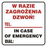 W razie zagrożenia dzwoń - tel. ...... In case of emergency dial - znak, naklejka kolejowa - SD018 - Znaki do pociągów – oznakowanie stosowane w wagonach pasażerskich