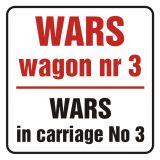 Wars w wagonie nr 3. Wars in carriage no 3 - znak, naklejka kolejowa - SD016 - Znaki do pociągów – oznakowanie stosowane w wagonach pasażerskich