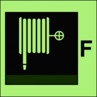 Wąż i dysza pożarnicza (F-piana) - znak morski - FI094