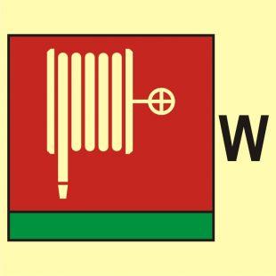 Wąż i dysza pożarnicza (W-woda) - znak morski - FI096