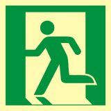 Wyjście ewakuacyjne (lewostronne) - znak ewakuacyjny - AAE001 - Budynki mieszkalne – oznakowanie