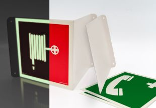Wyjście ewakuacyjne (lewostronne) - znak ewakuacyjny, przestrzenny, ścienny 3D