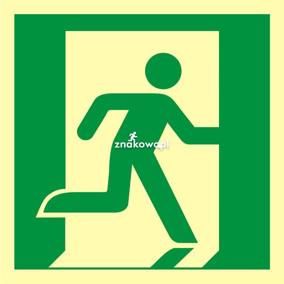 Wyjście ewakuacyjne (prawostronne) - Obiekty handlowe – znaki bezpieczeństwa i tablice informacyjne