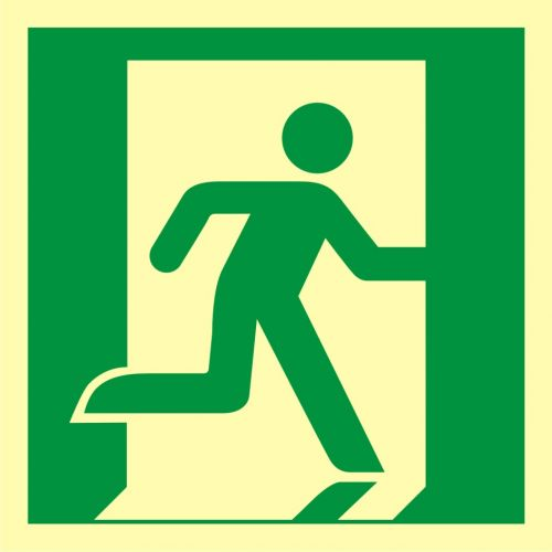 Wyjście ewakuacyjne (prawostronne) - znak ewakuacyjny - AAE002 - Stara czy nowa norma? Jakie znaki bezpieczeństwa wybrać?
