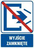 Wyjście zamknięte - znak informacyjny - RB502 - Przepisy dotyczące pomieszczeń pracy