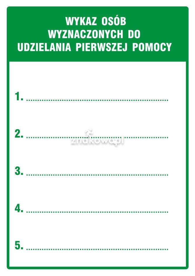 Wykaz osób wyznaczonych do udzielania pierwszej pomocy - Plac budowy – znaki i tablice