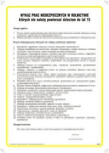 Wykaz prac niebezpiecznych, których nie należy powierzać dzieciom do lat 15 - IAW26