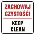 Zachowaj czystość! Keep clean - znak, naklejka kolejowa - SD020