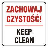 Zachowaj czystość! Keep clean - znak, naklejka kolejowa - SD020 - Znaki do pociągów – oznakowanie stosowane w wagonach pasażerskich
