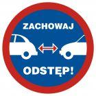 Zachowaj odstęp - znak, naklejka samochodowa - SC002