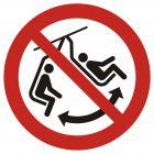 Zakaz bujania krzesełkiem - znak bhp zakazujący - GAP038