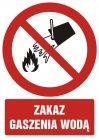 Zakaz gaszenia wodą