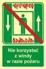Zakaz korzystania z windy osobowej w razie pożaru - znak ewakuacyjny - AC035