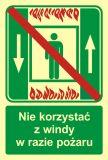 Zakaz korzystania z windy osobowej w razie pożaru - znak ewakuacyjny - AC035 - Windy pożarowe