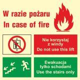 Zakaz korzystania z windy w razie pożaru (lewostronne) - Fotoluminescencyjne znaki bezpieczeństwa