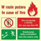 Zakaz korzystania z windy w razie pożaru (lewostronne) - znak ewakuacyjny - AC099