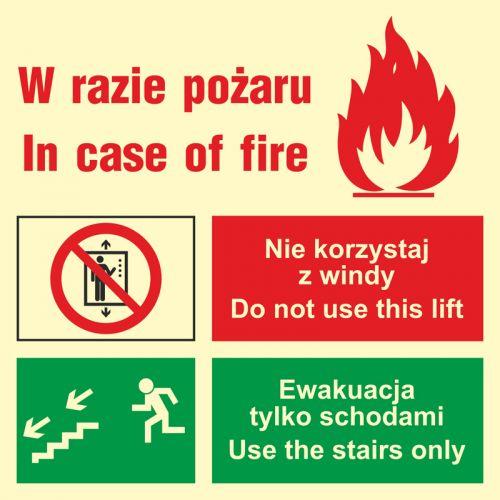 Zakaz korzystania z windy w razie pożaru (lewostronne) - znak ewakuacyjny - AC099 - Windy pożarowe