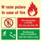 Zakaz korzystania z windy w razie pożaru (prawostronne) - znak ewakuacyjny - AC098
