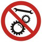 Zakaz naprawiania urządzenia w ruchu - znak bhp zakazujący - GB034