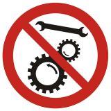 Zakaz naprawiania urządzenia w ruchu - znak bhp zakazujący - GB034 - Urządzenia ochronne przy maszynach