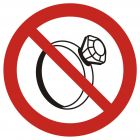 Zakaz noszenia biżuterii w pomieszczeniach produkcyjnych - znak bhp zakazujący - GB030