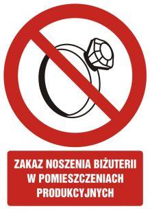 Zakaz noszenia biżuterii w pomieszczeniach produkcyjnych - znak bhp zakazujący - GC058