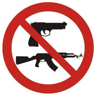 Zakaz noszenia broni - znak bhp zakazujący - GB017