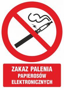 Zakaz palenia papierosów elektronicznych - znak bhp zakazujący - GC070
