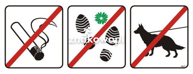 Zakaz palenia tytoniu, deptania trawnika, wprowadzania psów - znak, tablica wojskowa - NG003 - Regulamin placu zabaw