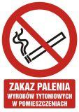 Zakaz palenia wyrobów tytoniowych w pomieszczeniach - znak bhp zakazujący - GC068 - Palenie tytoniu – gdzie obowiązuje zakaz, a gdzie wolno palić?