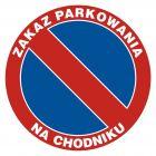 Zakaz parkowania na chodniku - znak PCV, naklejka - SA010