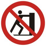 Zakaz pchania - znak bhp zakazujący - GAP017 - Dyrektywa 92/58/EWG – stosowane znaki bezpieczeństwa