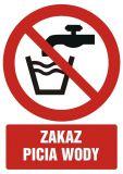 Zakaz picia wody - znak bhp zakazujący - GC009 - BHP na terenie zakładu pracy