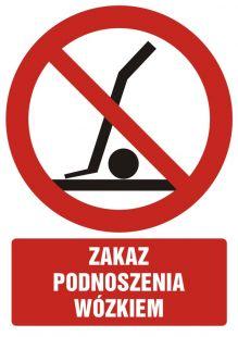 Zakaz podnoszenia wózkiem - znak bhp zakazujący - GC057