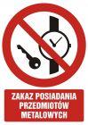 Zakaz posiadania przedmiotów metalowych - znak bhp zakazujący - GC037