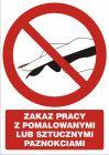 Zakaz pracy z pomalowanymi lub sztucznymi paznokciami - znak bhp zakazujący - GC060
