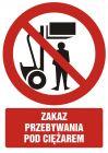 Zakaz przebywania pod ciężarem - znak bhp zakazujący - GC025