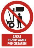 Zakaz przebywania pod ciężarem - znak bhp zakazujący - GC025 - Transport wewnętrzny – BHP