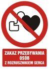 Zakaz przebywania z rozrusznikiem serca - znak bhp zakazujący - GC038