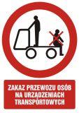 Zakaz przewozu osób na urządzeniach transportowych 2 - znak bhp zakazujący - GC043 - Znaki BHP w miejscu pracy (norma PN-93/N-01256/03)