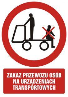 Zakaz przewozu osób na urządzeniach transportowych 2 - znak bhp zakazujący - GC043